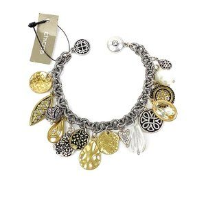 Chico's Bracelet Mixed Metal Charms Magnetic Clasp